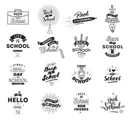 Back to school typographic labels set.