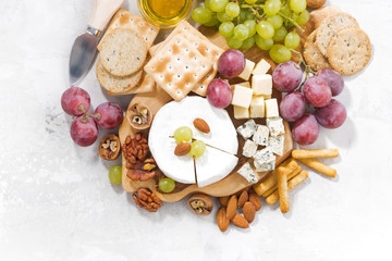 camembert, grapes and snacks on a white table