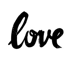 Love handwritten lettering on white background