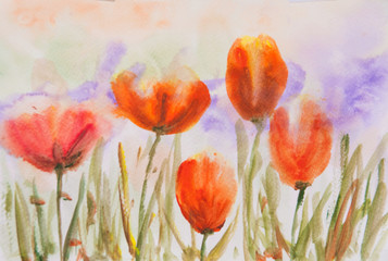 Orange tulip flowers in garden, acrylic color painting, impressionism style