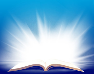 image of open book with a beautiful light closeup
