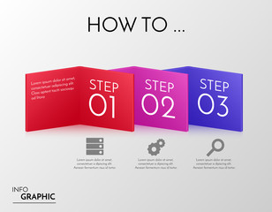 Vector colorful banners with three steps. Infographic 3d boxes with business icons.