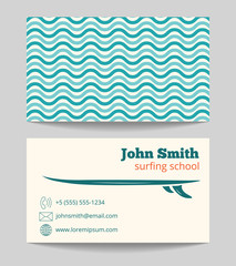 Surfing school business card template