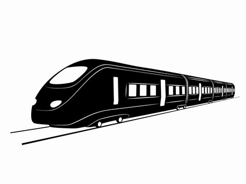 silhouette of train. vector drawing