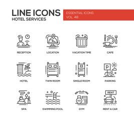 Hotel Services - flat design line icons set
