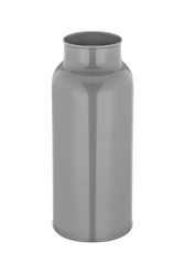 empty transparent metal bottle