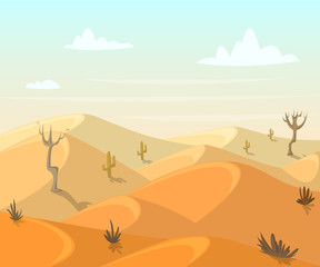 Desert landscape with cactuses and trees. Vector illustration in cartoon style