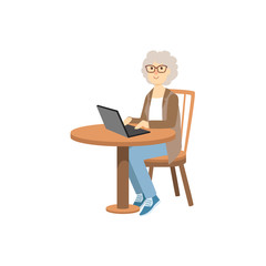 Old Woman Working On Lap Top
