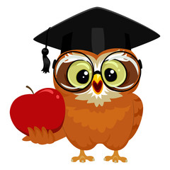 Vector Illustration of an Owl holding an Apple