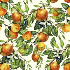 Sunny Mandarin Watercolor Pattern
