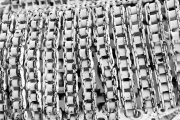 macro rusty chain and gear, Roller Chain Texture with paint in white color from old material