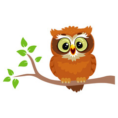 Vector Illustration of an Owl sitting on a Tree Branch