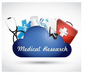 Medical research cloud isolated sign