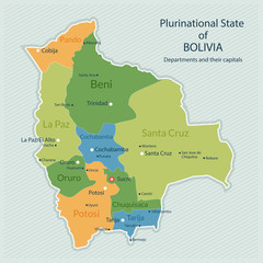 Vector illustration of administrative map of Bolivia. Capital of country, departments and big cities. Flat design, clean look