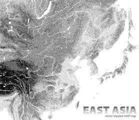 Vector stippled relief map of East Asia