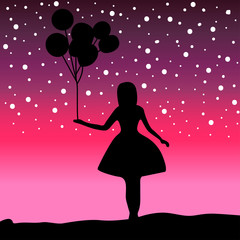 Vector Silhouette girl holding a balloon on background