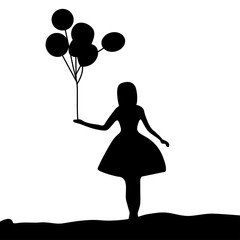Vector Silhouette girl holding a balloon on white background
