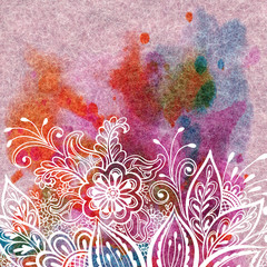 Colorful Background, Floral Outline Ornament, Symbolical White Flowers and Leafs Contours on Abstract Hand-Draw Watercolor Painting on Wool Fabric