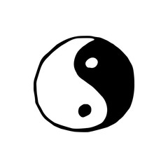Ying yang symbol icon isolated on white background