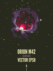 Fototapete - Orion nebula Retro space theme poster