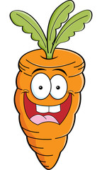 Cartoon illustration of a smiling carrot.