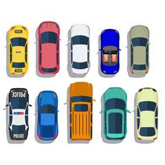 Papiers peints Cartoon voitures Cars top view vector