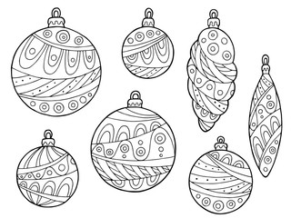 New year Christmas balls black white abstract pattern illustration isolated set vector