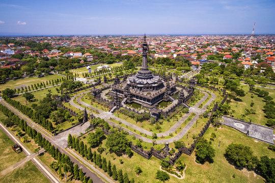 Aerial view of Bajra Sandhi Monument in Denpasar, Bali, Indonesia.