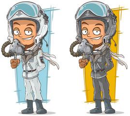 Cartoon set of pilots with cool helmets
