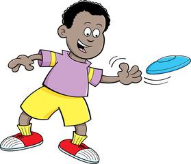 Cartoon illustration of a boy throwing a flying disc.