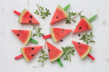 Watermelon on white rustic wooden background, Top view and flat lay