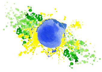 Inscription Rio on background watercolor stains. Hand-drawn texture. Brazilian flag made of colorful splashes  Signs, symbols. Carnival, Summer, ink color. Rio.