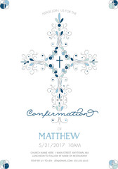 Boys Confirmation, Baptism, or Christening, or First Holy Communion Invitation Template with Fancy Cross