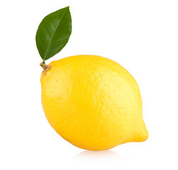ripe lemon isolated on white background