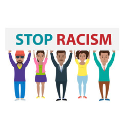 group of african american people holding banner stop racism isolated on white background