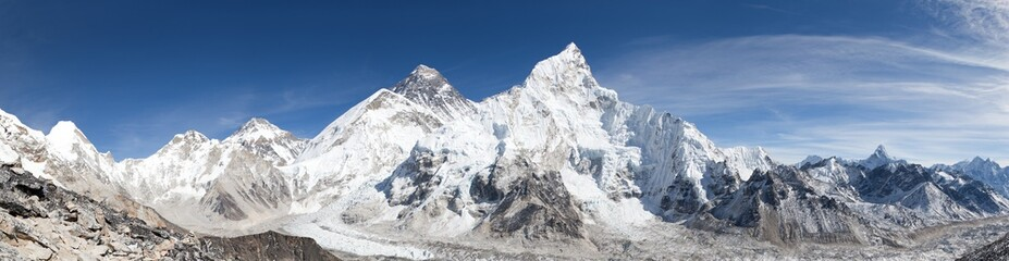 panoramic view of Mount Everest with beautiful sky
