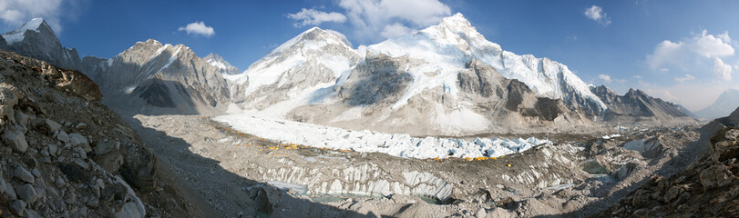 Evening panoramic view of Mount Everest base camp