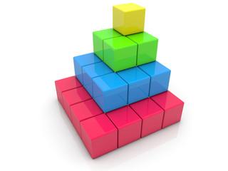 Stacked toy bricks in corner on white