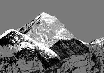 Abstract silhouette of Mount Everest from Kala Patthar