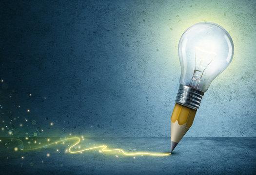 Pencil-Bulb Drawing Light - Creative Idea Concept