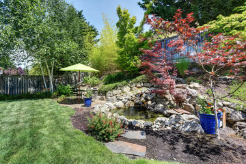 Photo Blinds Olive Backyard garden with beautiful landscape