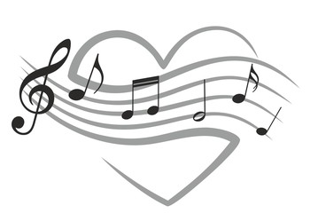 Heart with music notes.