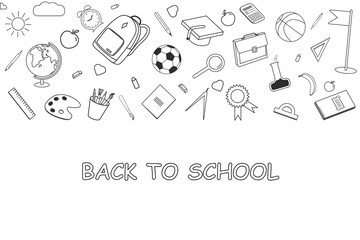 Back to School lineart background. Various school stuff - supplies for sport, art, reading, science, geography, biology, physics, mathematics and chemistry. Vector isolated over white background