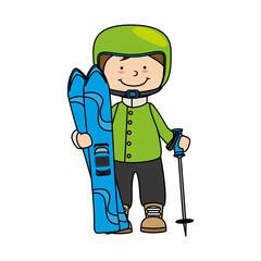 snowboard child kid boy sport winter vector graphic icon
