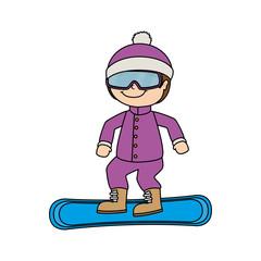 snowboard girl child kid sport winter vector graphic icon