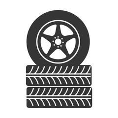 tire wheel car stack  rim vector graphic icon