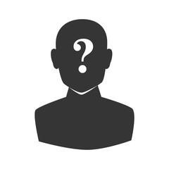 man mark face question who vector graphic icon