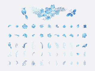 Set of blue flowers and bird