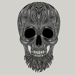 Abstract vector human skull with beard