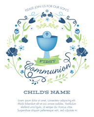 Blue and Green Boy's First Holy Communion Invitation with Chalice and Flowers - Vector